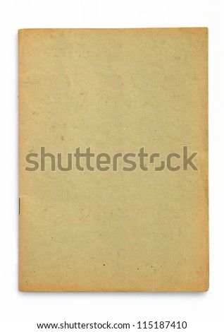 old yellow booklet on white background - stock photo