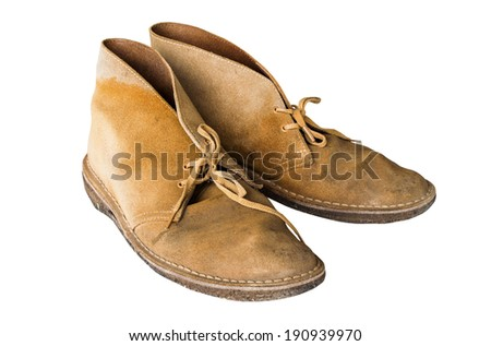 old yellow boots Isolated on white background