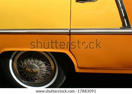 old yellow car - stock photo