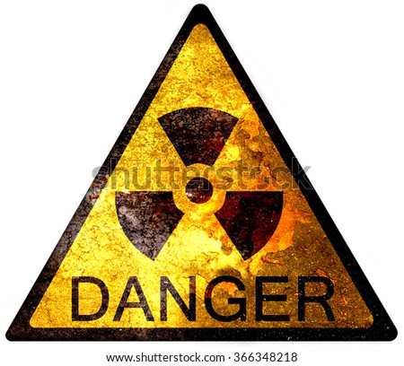 old yellow danger sign - radioactive