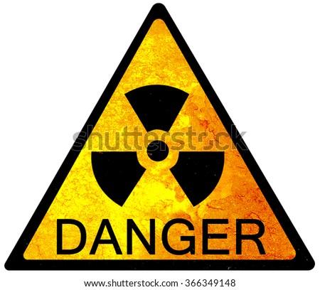 old yellow danger sign - radioactive - stock photo