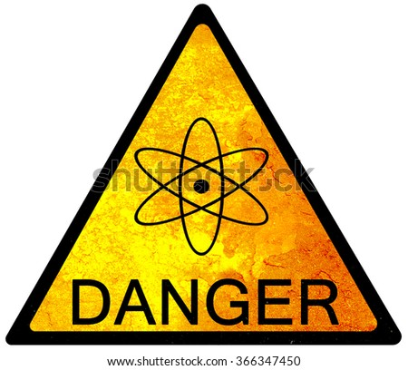 old yellow danger sign - with Atom - stock photo