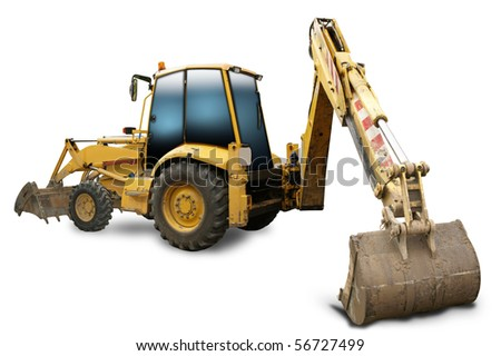 Old yellow digger on a white background