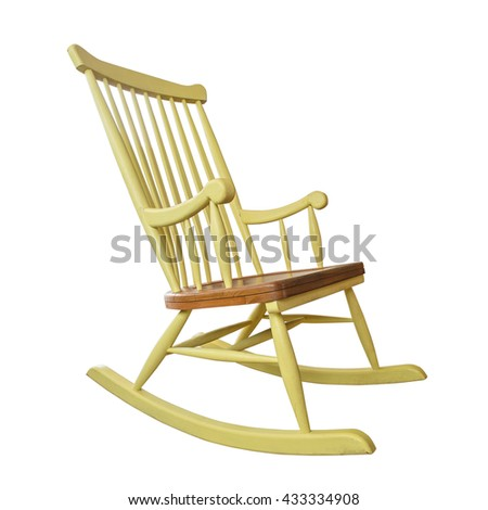 Old yellow rocking chair isolated