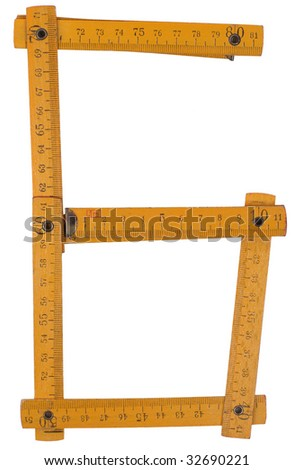 old yellow ruler forming font symbol 6