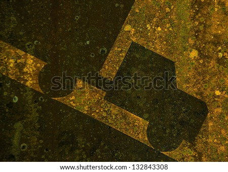 Old yellow rusted steep grade hill traffic sign. Background close-up photo. - stock photo