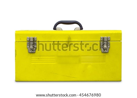Old yellow steel toolbox, isolated on white background with clipping path