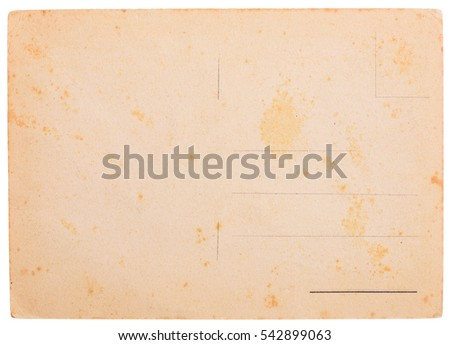Old yellowed blank postcard, weathered and stained, isolated on white background