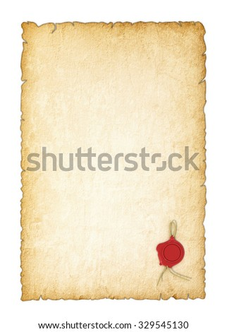 Old yellowed paper with a wax seal on a white background - stock photo