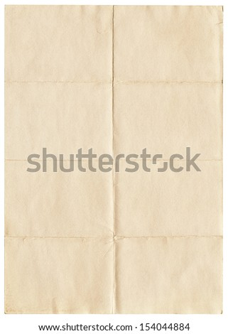 Old yellowing folded A4 paper isolated on white. - stock photo