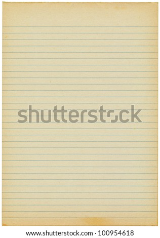 Old yellowing lined blank A4 paper isolated. - stock photo