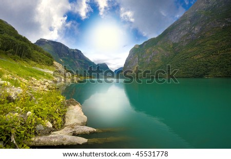 Olden lake under Briksdal Glacier, Norway