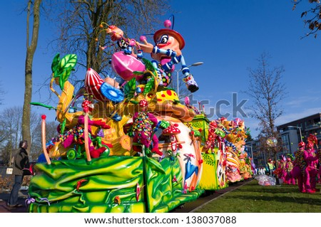 OLDENZAAL, NETHERLANDS - FEBRUARY 2:  Decorated wagon during the annual carnival parade on feb 2, 2013 in Oldenzaal, Netherlands. It,s one of the largest in the country with 100,000 spectators