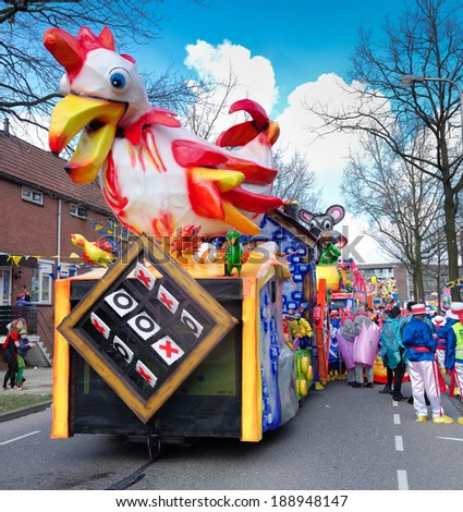 OLDENZAAL, NETHERLANDS - MARCH 2, 2014: Participant in the annual carnival parade.  It's one of the largest in the country with 100,000 spectators