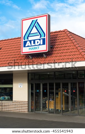 OLDENZAAL, NETHERLANDS - NOVEMBER 3, 2015: Aldi store logo. Aldi is an internationally operating German chain of discount supermarkets, founded in 1946 in Essen by the brothers Karl and Theo Albrecht