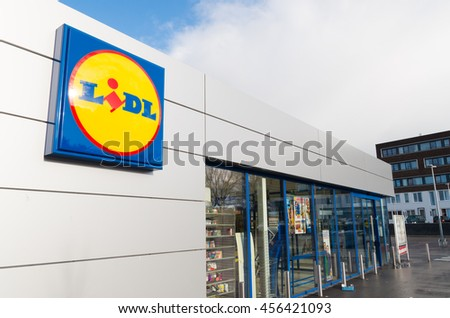 OLDENZAAL, NETHERLANDS - NOVEMBER 22, 2015: Lidl supermarket. The company is active in a large part of Europe, with around 8000 stores in more than 23 countries.