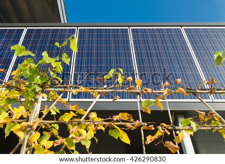 OLDENZAAL, NETHERLANDS - OCTOBER 31, 2015: Solar panels above the entrance of a modern sustainable office building - stock photo