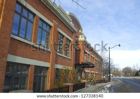 Older antique area of Calgary's downtown distric - stock photo