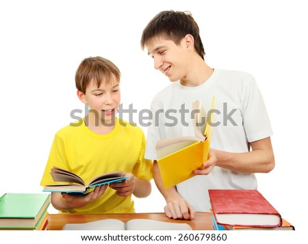 Older Brother and Little Brother doing Homework on the White Background