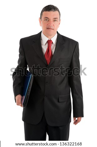 Older businessman with a laptop isolated on white background - stock photo