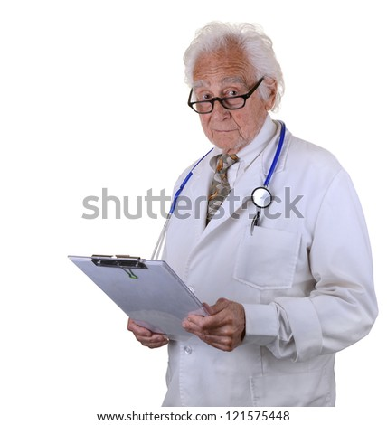 Older, experienced doctor with gray hair and eyeglasses wearing a lab coat and stethoscope holding a chart - stock photo