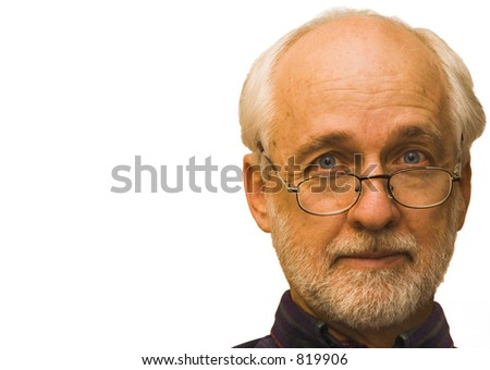 Older gentleman wearing glasses.  Isolated on a white background.