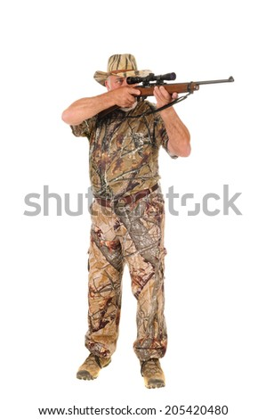 Older hunter aiming rifle at target, isolated on white - stock photo