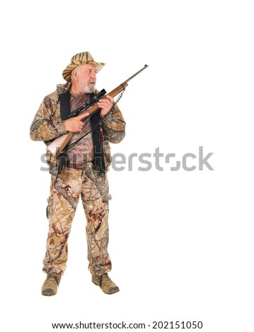 older hunter holding rifle, isolated on white with copy space - stock photo