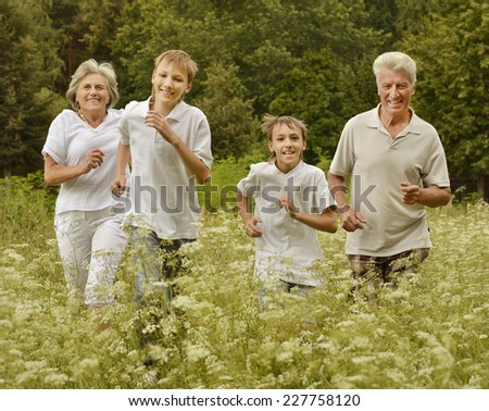 Older man and woman with their grandchildren having fun outdoors - stock photo