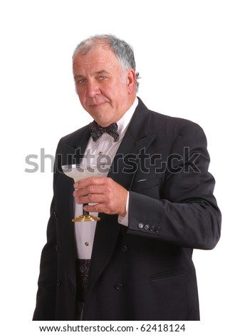 older man in tuxedo with a margarita, isolated over white - stock photo