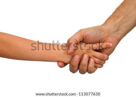 Older man shaking hands with a young boy isolated over a white background. Only arms visible.