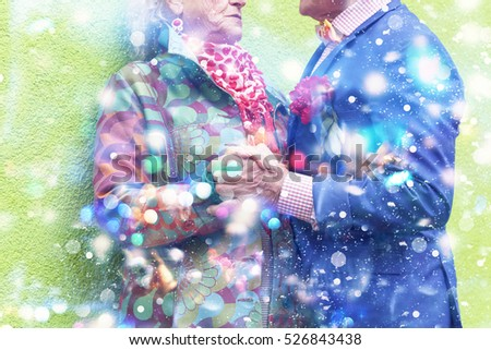 Older people celebrating the new year, christmas, holiday. Fancy clothes, beautiful makeup. Sequins, colored lights
