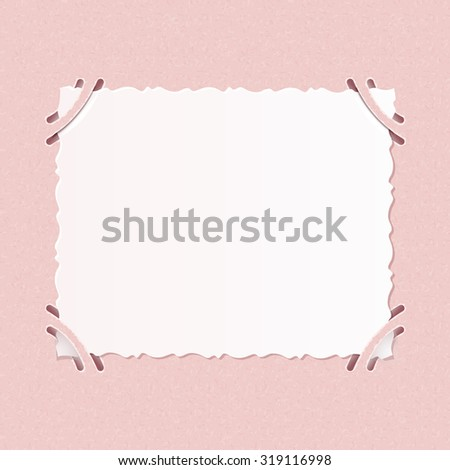 Older realistic photographs with rough edges inserted into corners square formats on pink album page. - stock photo