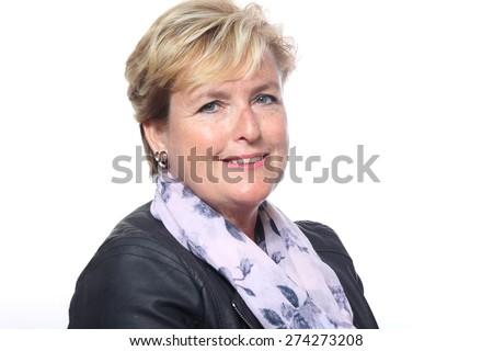 Older woman posing - stock photo