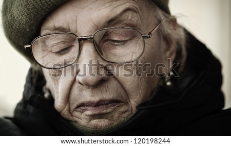 older woman with eyeglasses - stock photo