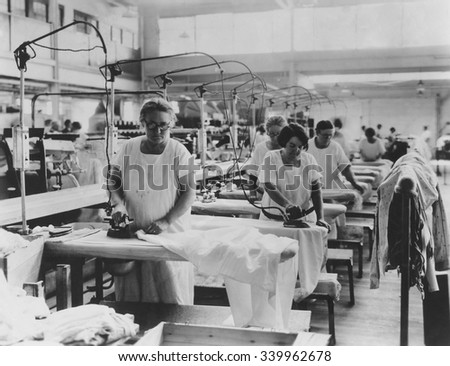 Older women doing hand ironing in a laundry, ca. 1925-35