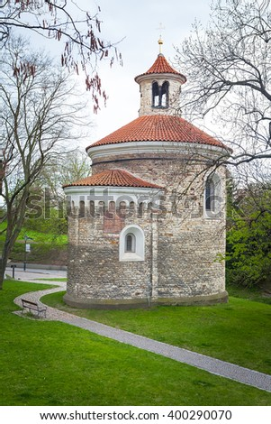 Oldest Rotunda of St. Martin in Vysehrad, Prague, Czech Republic - stock photo