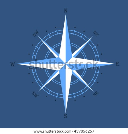 oldstyle wind rose compass on blue background