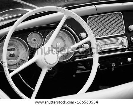 oldtimer cockpit view - stock photo