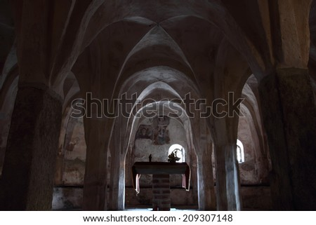 OLEGGIO, ITALY - JULY 31, 2014: The ancient romanesque crypt of San Michele church, founded in the VII century