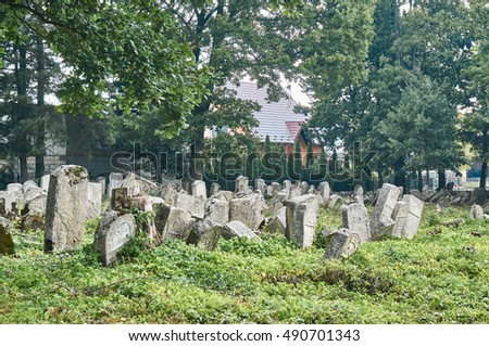 OLESZYCE, POLAND - SEPTEMBER 17, 2016:  The abandoned Jewish cemetery in Oleszyce. A cemetery survived in the area of 0.3 ha, on which 500 graves are located.