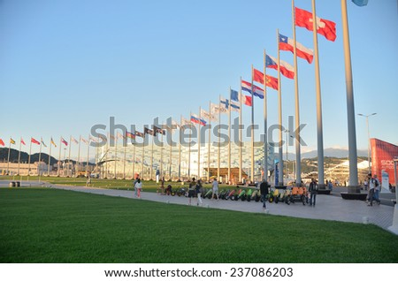 OLIMPIC PARK, SOCHI, RUSSIA SEPTEMBER, 2014: Sochi adventure park, Flags commands competitors Formula 1