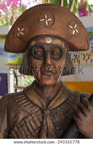 OLINDA, BRAZIL - MARCH 10: Sculpture of the most notorious Pernambuco's citizens nicknamed Lampiao who became an icon of the northeast of Brazil as seen on March 3, 2014 in Olinda, Pernambuco, Brazil. - stock photo