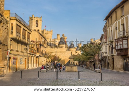 OLITE, SPAIN - NOVEMBER 1, 2016: People at the central square of Olite, Spain