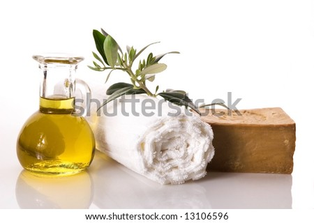 olive bath items isolated on the white. wellness products