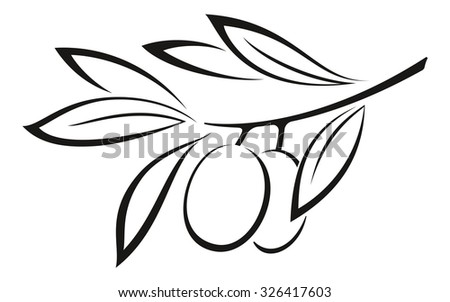 Olive Branch with Berries and Leaves Monochrome Black Pictogram Icon Isolated on White Background.