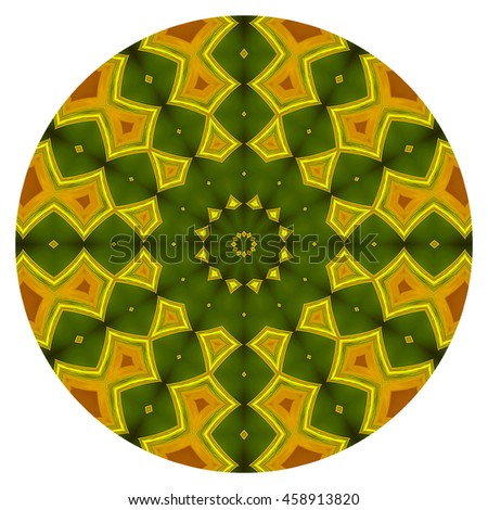 Olive Green mustard yellow kaleidoscope twist twirl spin spiral background backdrop flower floral close-up macro design pattern