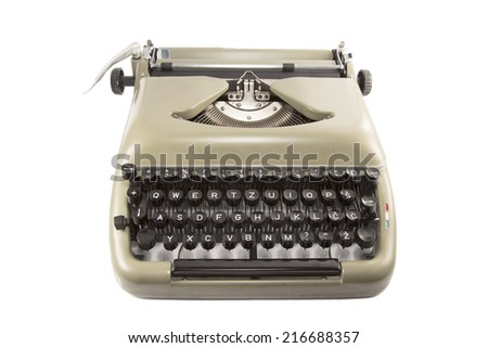 Olive green typewriter isolated