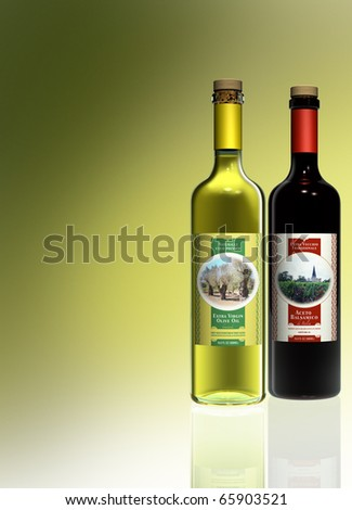 olive oil and balsamico vinegar rendering with fictitious labels