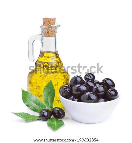 olive oil and black olives isolated on white background - stock photo